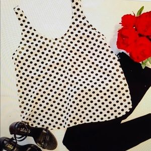 a is for Audrey black/ white polka dot tank top.